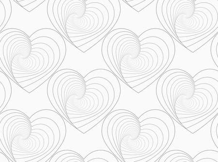 unevenly: Monochrome abstract geometrical pattern. Gray unevenly striped hearts.