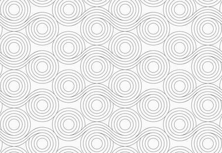 merging: Monochrome abstract geometrical pattern. Gray circles with wavy lines merging. Stock Photo