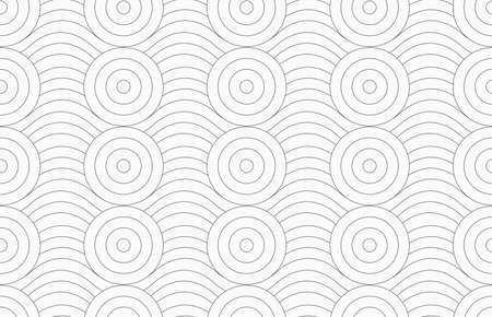 merging: Monochrome abstract geometrical pattern. Modern gray seamless background. Flat simple design.Gray circles merging with continues lines.