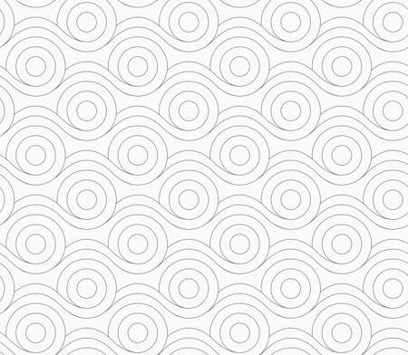 merging: Monochrome abstract geometrical pattern. Gray circles merging with wavy lines. Stock Photo