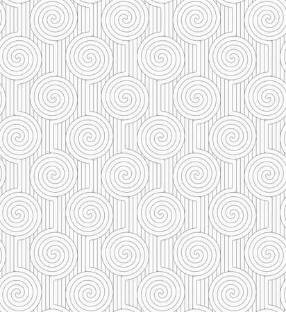 merging: Monochrome abstract geometrical pattern. Gray merging Archimedean spirals with continues lines.