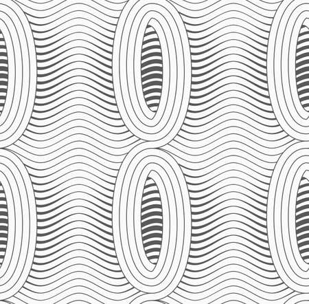 merging: Monochrome abstract geometrical pattern. Gray merging ovals with wavy continues lines.