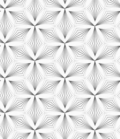 pointy: Monochrome abstract geometrical pattern. Modern gray seamless background. Flat simple design.Gray striped pointy trefoils.