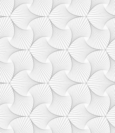 pointy: Monochrome abstract geometrical pattern. Gray striped shapes resembling pointy trefoil.