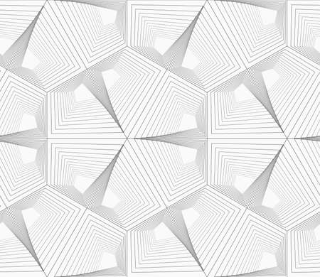 unevenly: Monochrome abstract geometrical pattern. Gray unevenly striped hexagons.