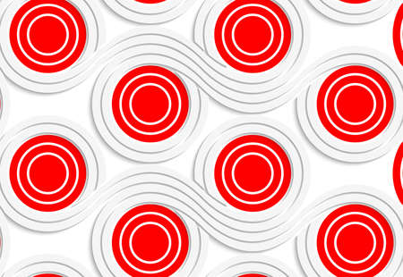 merging: Abstract seamless background with 3D cut out of White colored paper red spools merging.
