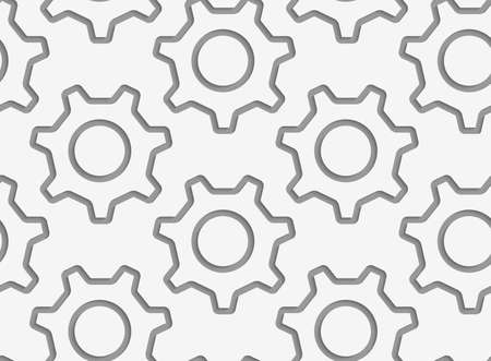 perforated: Modern seamless pattern. Geometric background with Perforated simple gears contours.