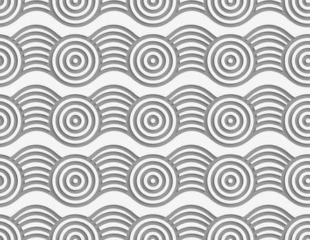 perforated: Modern seamless pattern. Geometric background wit Perforated circles on bulging ribbon.