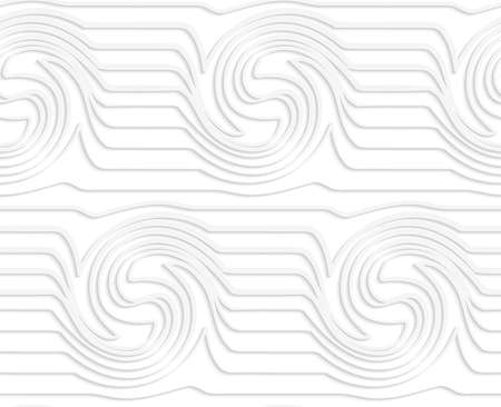 cut out paper: Seamless pattern with cut out paper white waves with swirls.