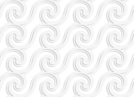 cut out paper: Seamless pattern with cut out Paper white striped spiral waves. Illustration