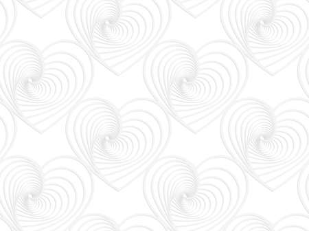 cut out paper: Seamless pattern with cut out Paper white striped hearts.