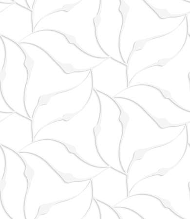perforated: Seamless pattern with cut out Paper white pointy leaves forming flower. Illustration