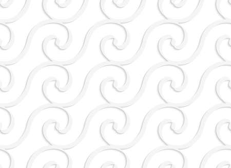 cut out paper: Seamless pattern with cut out Paper white solid spiral waves.