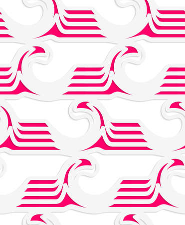 Abstract seamless background with 3D cut out of White colored paper magenta striped waves.