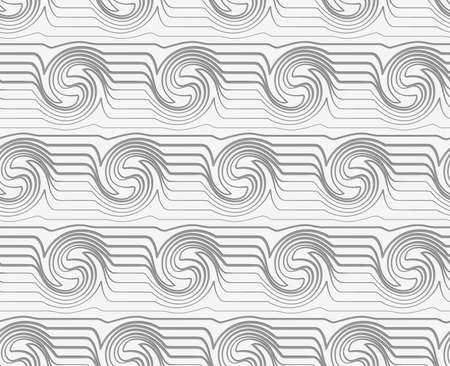perforated: Modern seamless pattern. Geometric background with Perforated striped swirling waves.