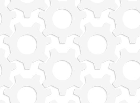 Seamless pattern with cut out Paper white simple gears.