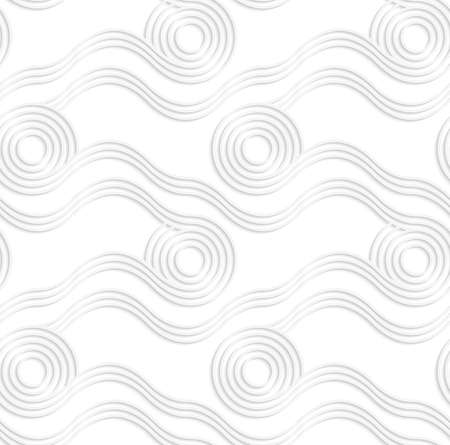 cut out paper: Seamless pattern with cut out Paper white rolling spools.