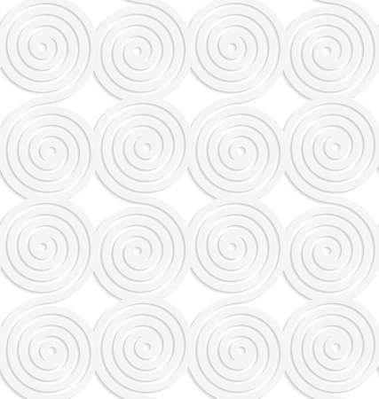 cut out paper: White paper background. Seamless patter with cut out paper effect. Realistic shadow creates 3D modern texture.Paper white merging spirals.