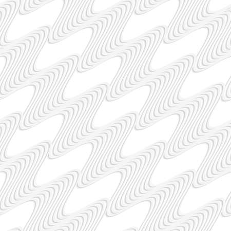 cut out paper: Seamless pattern with cut out Paper white diagonal striped waves.