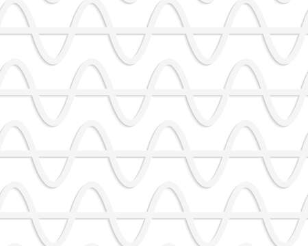cut out paper: Seamless pattern with cut out Paper white horizontal waves with level line. Illustration