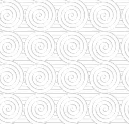cut out paper: Seamless patter with cut out Paper white merging spirals on stripes. Illustration