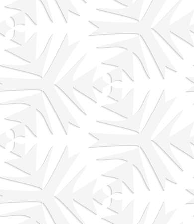 patter: Seamless patter with cut out of Paper white pointy complex trefoils.