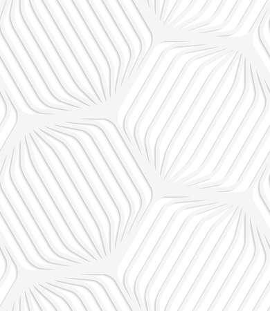 ritagliare: Picchiettio senza giunte con ritagliate bianchi esagoni strisce arrotondate carta. Vettoriali