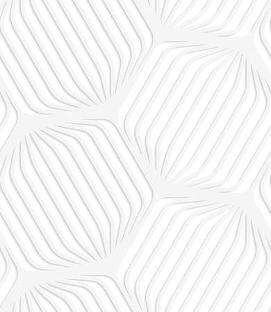 Seamless patter with cut out Paper white rounded striped hexagons. Illusztráció