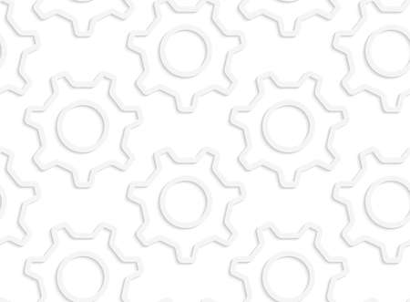 Seamless patter with cut out Paper white simple gears contoured. Ilustração