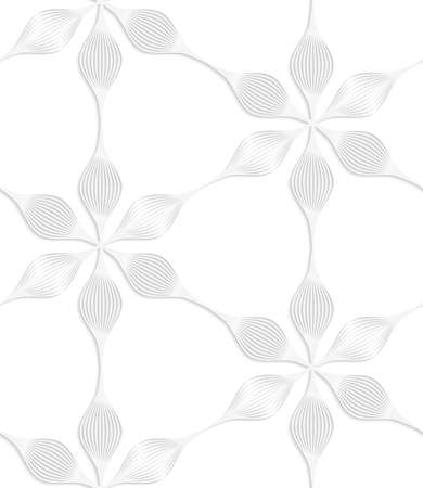 cut flowers: Seamless patter with cut out Paper white six pedal flowers.