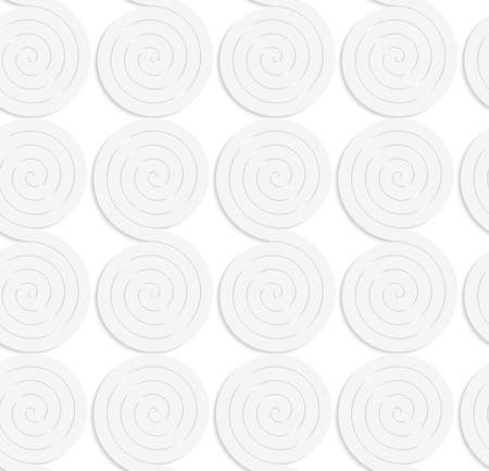 cut out paper: Seamless patter with cut out Paper white solid merging spirals.
