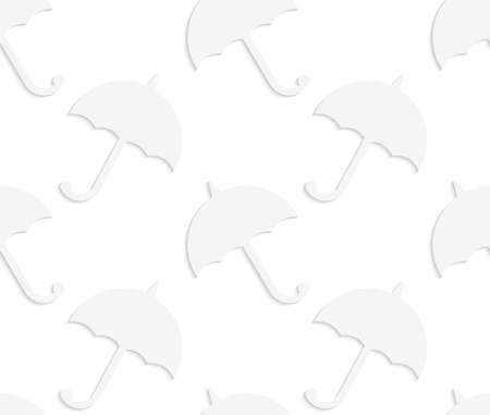 cut out paper: Seamless patter with cut out Paper white solid umbrellas.