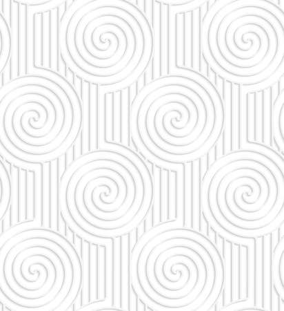 cut out paper: Seamless patter with cut out Paper white spirals on continues lines. Illustration