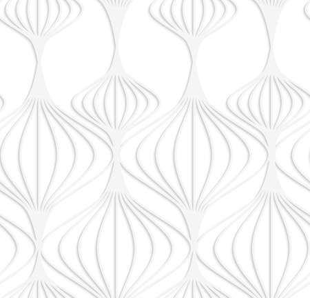 cut out paper: Seamless patter with cut out Paper white striped Chinese lanterns.