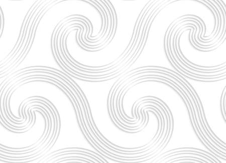 cut out paper: Seamless patter with cut out Paper white striped spiral waves big. Illustration