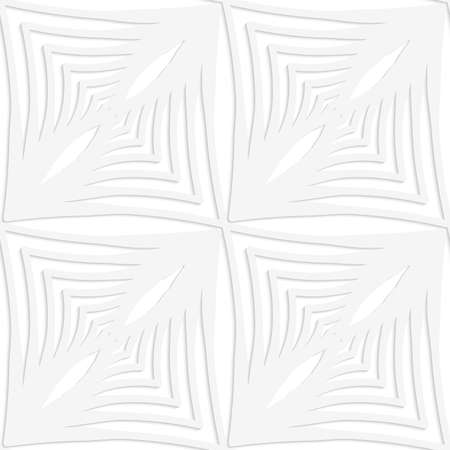 Seamless patter with cut out Paper white striped squares with thickening. Ilustração