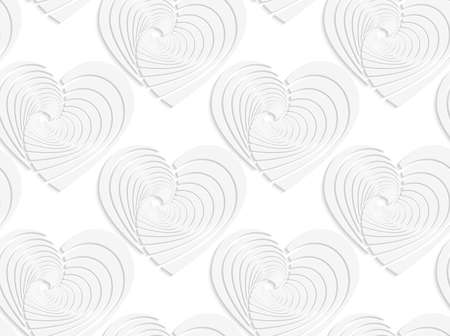 cut out paper: Seamless patter with cut out Paper white textured hearts.