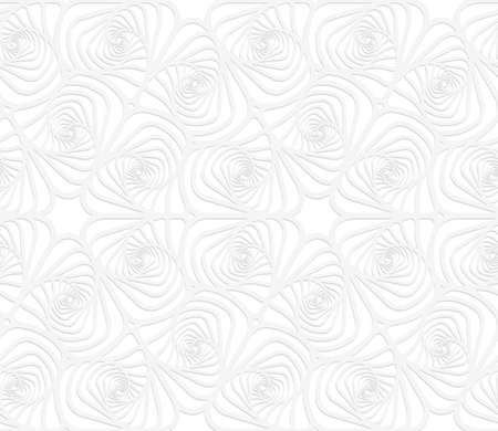 cut out paper: Seamless patter with cut out Paper white twisted striped sea shells.