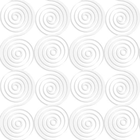 cut out paper: Seamless patter with cut out Paper white vertical merging spirals.