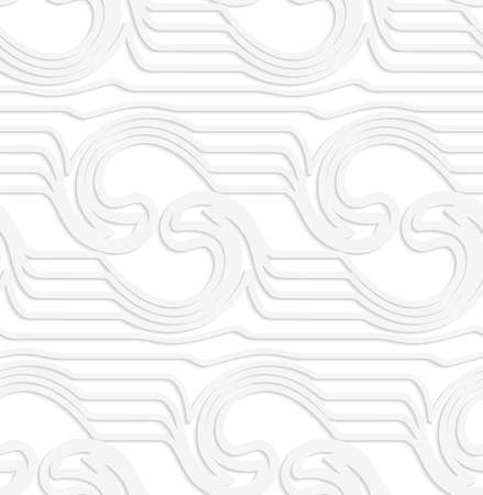 mirrored: White paper background of white waves mirrored with swirls. Illustration