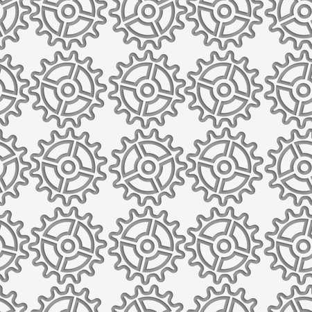 Modern seamless pattern of Perforated complex gears. Иллюстрация