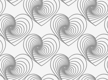 천공 된 스트라이프 하트의 현대 원활한 패턴입니다. 일러스트