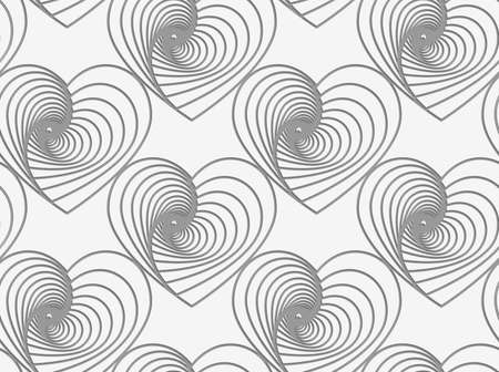 Modern seamless pattern of Perforated striped hearts. Ilustração