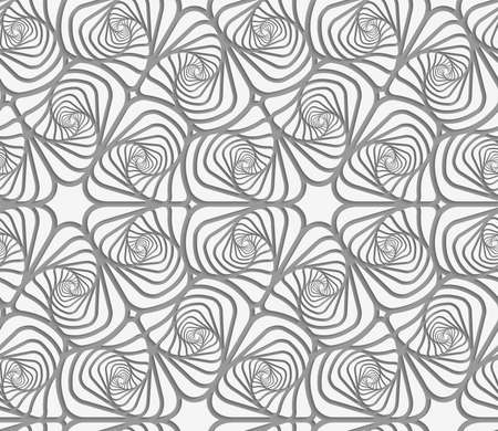 Modern seamless pattern of Perforated swirly striped rounded shapes. Illustration