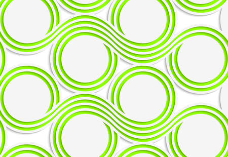 Abstract seamless background with 3D cut out of White colored paper green spools. Illustration