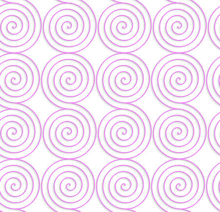 Abstract seamless background with 3D cut out of White colored paper pink spirals.