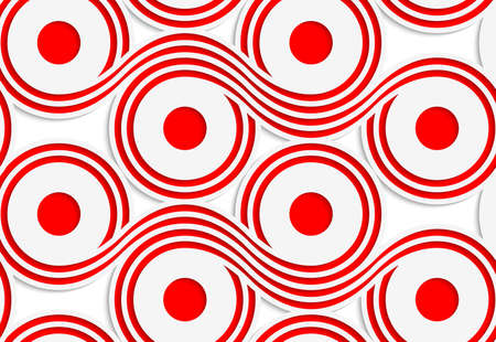 Abstract seamless background with 3D cut out of paper effect. Pattern with realistic shadow. Modern texture. Stylish backdrop.White colored paper red spools.