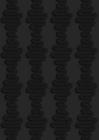 plastic texture: Seamless geometric background. Pattern with 3D texture and realistic shadow.Textured black plastic vertical waves.