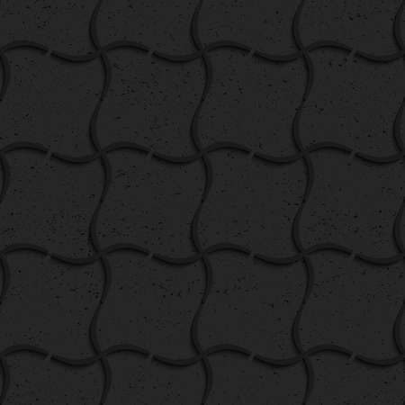 Seamless geometric background. Pattern with 3D texture and realistic shadow.Textured black plastic wavy grid. Ilustração