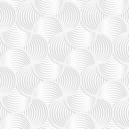 Paper white 3D geometric background. Seamless pattern with realistic shadow and cut out of paper effect.White paper 3D slim stripes small circle pin will. Illustration